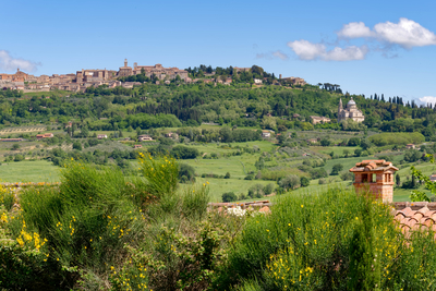 View of San Biagio Church and Montepulciano in Tuscany