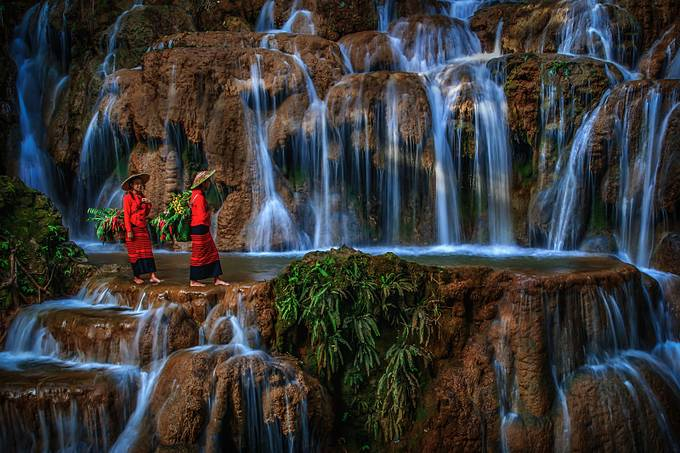 Girls on the Waterfall by HlaingMyintMin - People And Waterfalls Photo Contest