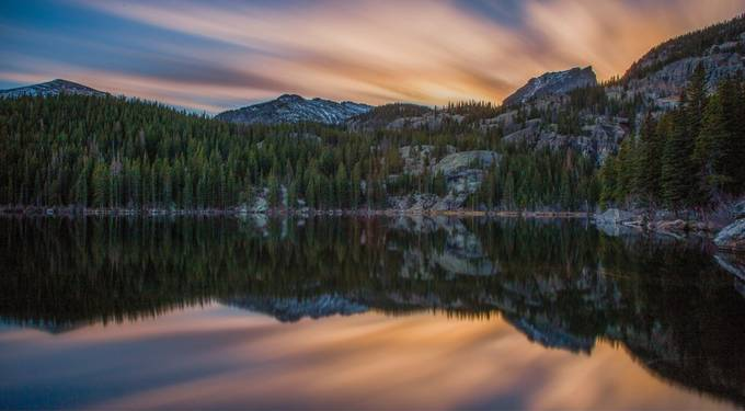 A beautiful sunset at Bear Lake, RMNP.  by Mattsnowphotography - The Moving Clouds Photo Contest
