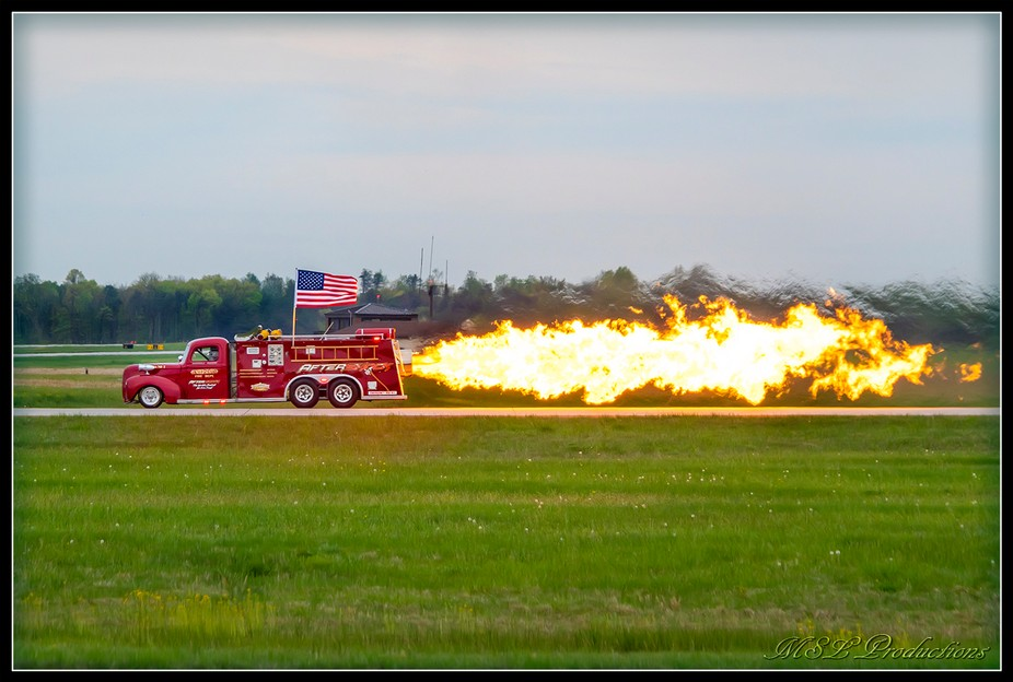 """The """"Aftershock"""" jet powered firetruck at Joint Base McGuire-Dix-Lakehurst in N..."""