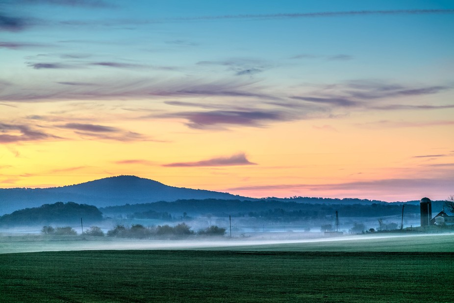 Early morning over Chuck Wade\'s sod farm, Adamstown