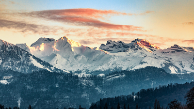 Fiery Red Sunset in Lucerne