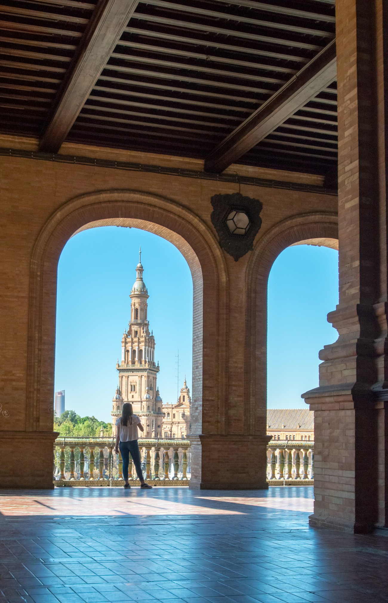 taking time to admire the views in Seville, Spain