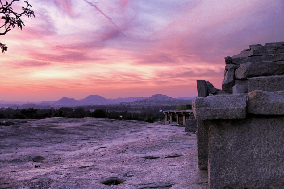 Sunsets near Hampi.  A unique place of India.