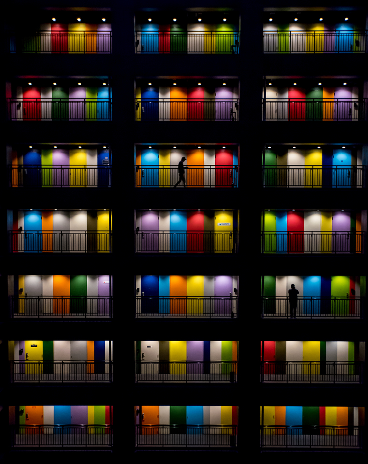 Between the Colorful Doors by gerdiehutomo - My City At Night Marketplace Project