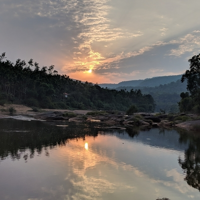 Sun immersed in Bhadra river