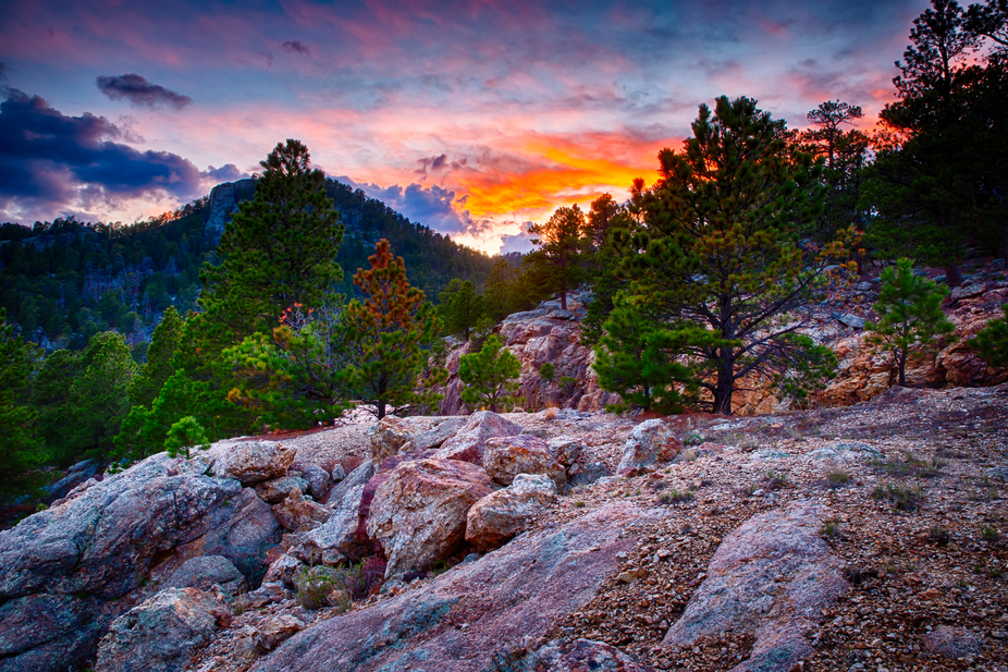 Sunset in the Black Hills of South Dakota, US.