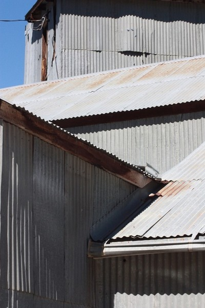 Angles on an old tin mine building in Nevada
