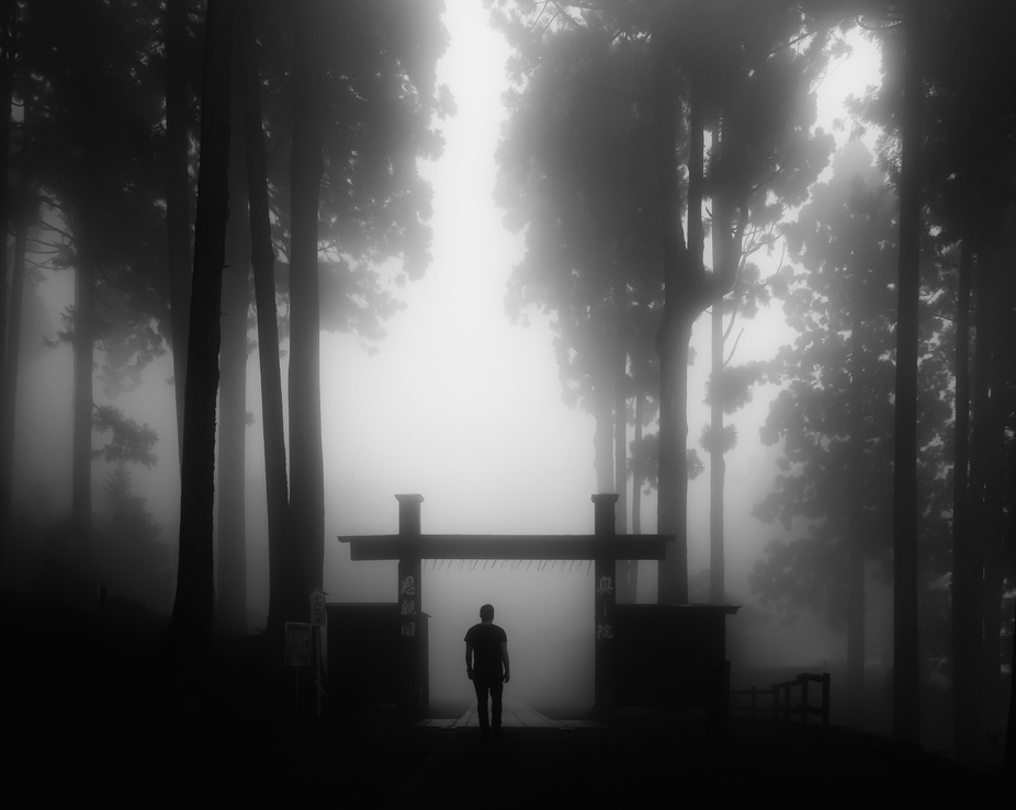 Taken on the top of Mt. Minobu in Yamanashi, Japan amid thick fog. The small torii gives the feel...
