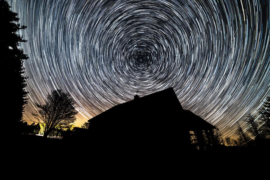 Capturing star trails in Vermont.  45 minute exposure