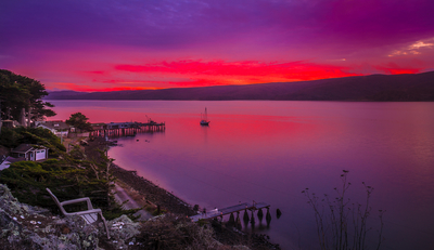 Tomales Bay after sunset