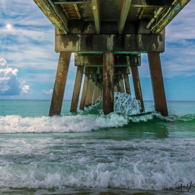 Under the Okaloosa Island Pier in Fort Walton Beach, FL. Taken with an iPhone X using the Halide app which allows you to process RAW files. Edited in Lightroom and then finished up in Skylum's Luminar 2108.