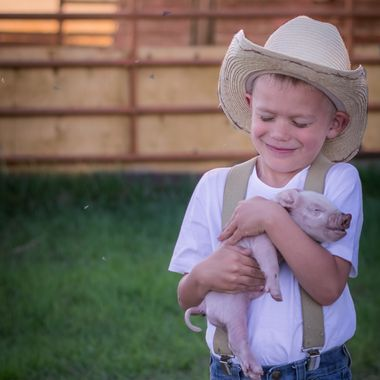 Little boy in Alberta Canada welcomes new Piggy.