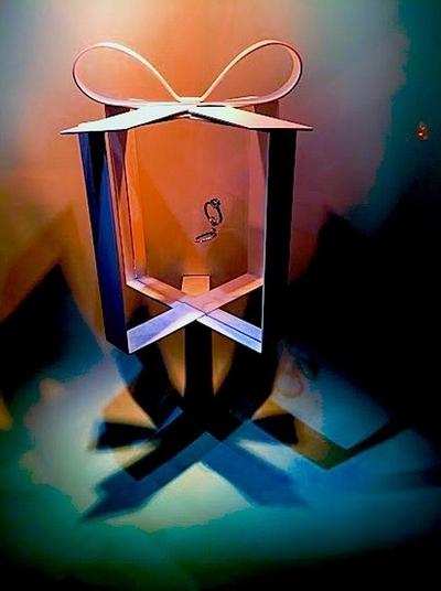 Lights and shadowplay Tiffany's Window Display creates Hint of their Blue Box