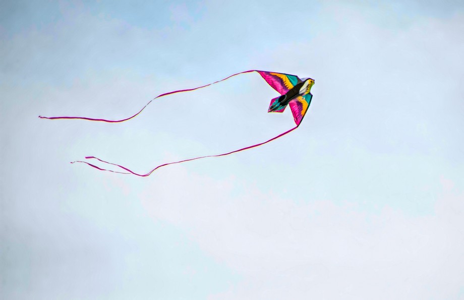 This is the kite at the end of the sting with the people.