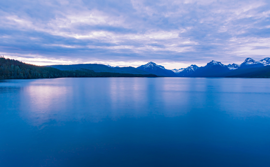 Long exposure of McDonald Lake in Glacier Park.