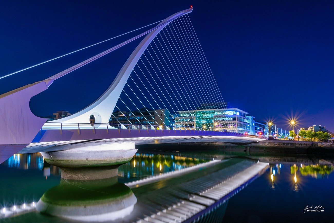 One of the new bridges spanning the river Liffey in Dublin