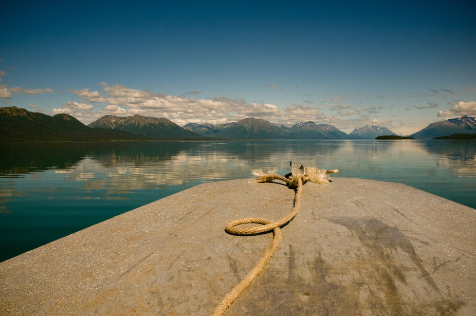 Early morning on Lake Clark near Lake Clark National Park Alaska. The lake was calm and the air w...