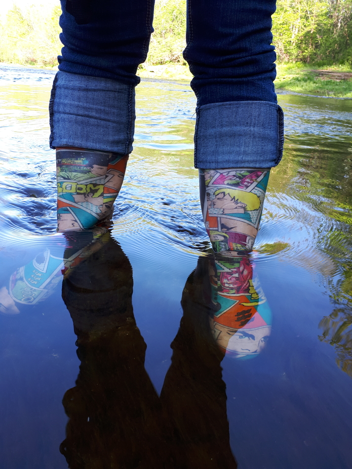 I love the my rubber boots. They're so stinking cute with all the bright colours.  They ...