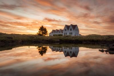Orange red sunset in Iceland