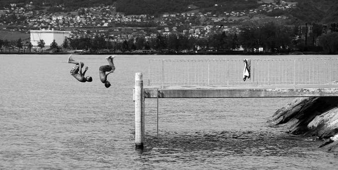 Boys Diving Lake Geneva by dbalaam - Health And Fitness Photo Contest