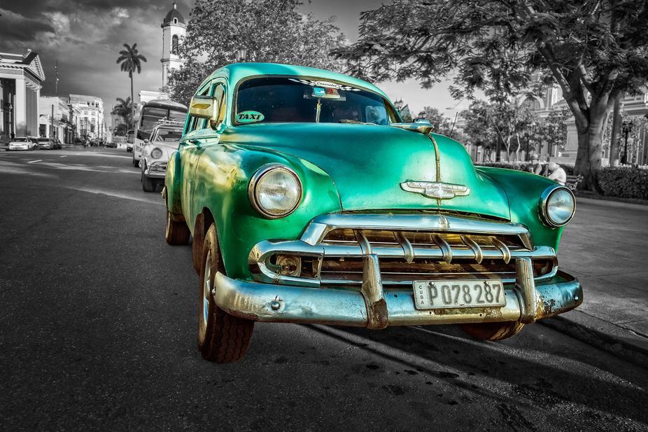 A station wagon in Cienfuegos, Cuba. Edited in On1 Raw 2018.