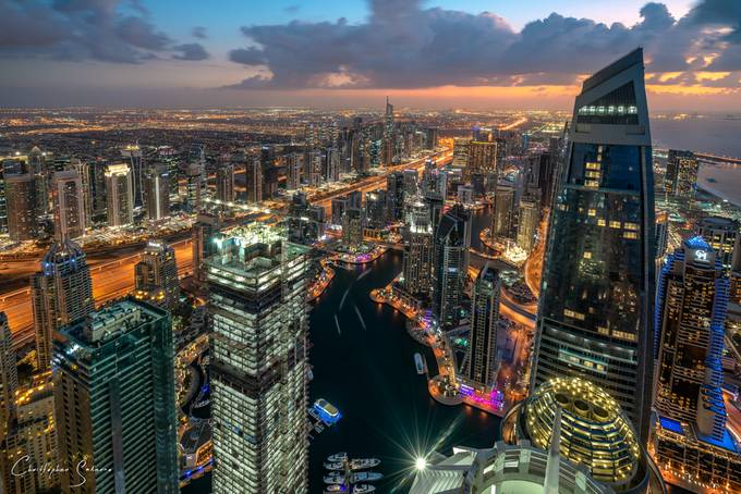 Dubai Marina Nightscape by christophersalerno - Sunset And The City Photo Contest