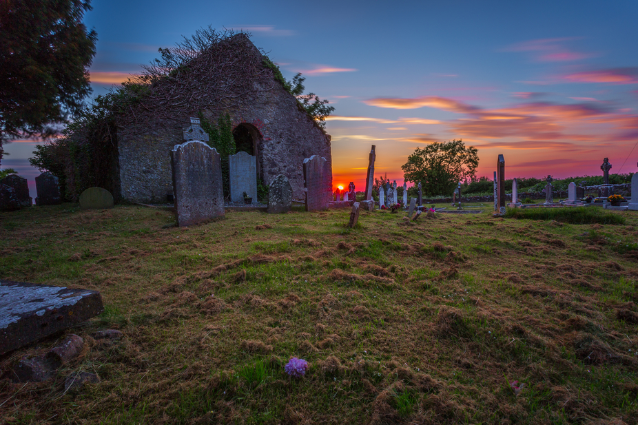 Derelict Church & Graveyard at Sunset, Co.Kildare