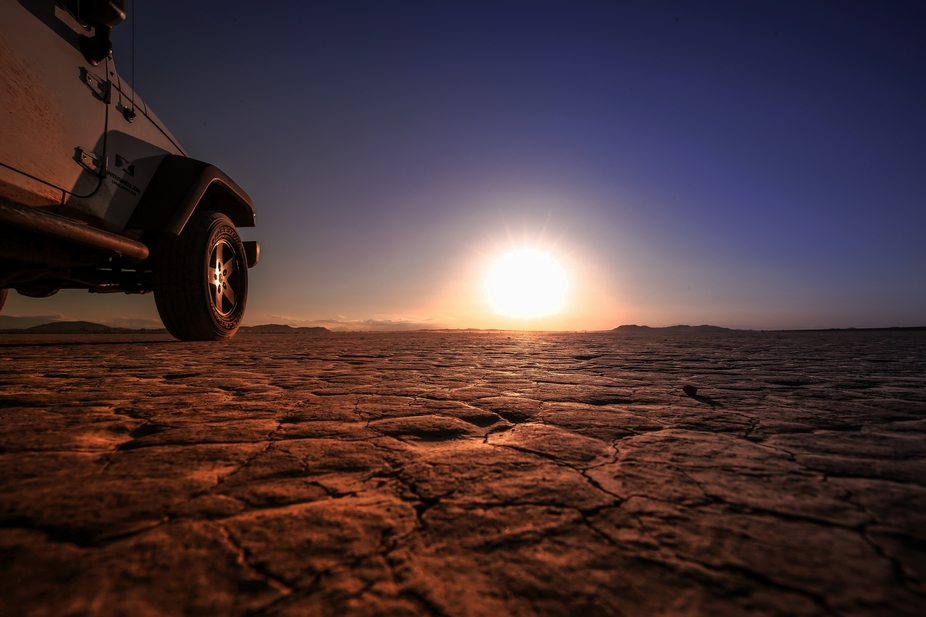 Sunset on the dry lake bed in victorville ca