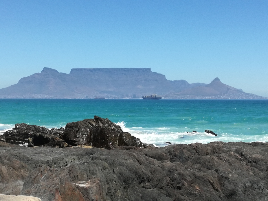 Bright day in Cape Town with Table Mountain as back drop.