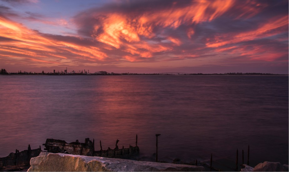 Sunset off the Stockton Breakwall, Newcastle, NSW.  Taken off the Breakwall looking out over the ...