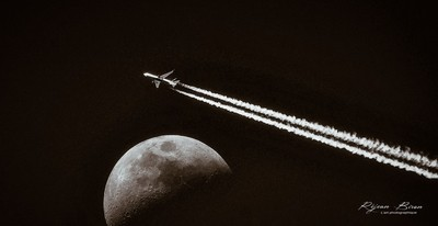 The moon and the plane