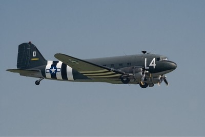 Duxford 26-5-18 1942 Douglas C-47A Skytrain -  Dakota 2100884 -  now a post war airshow attraction, having being used in the filming of Airline in 1979 - Band of Brothers and Saving Private Ryan