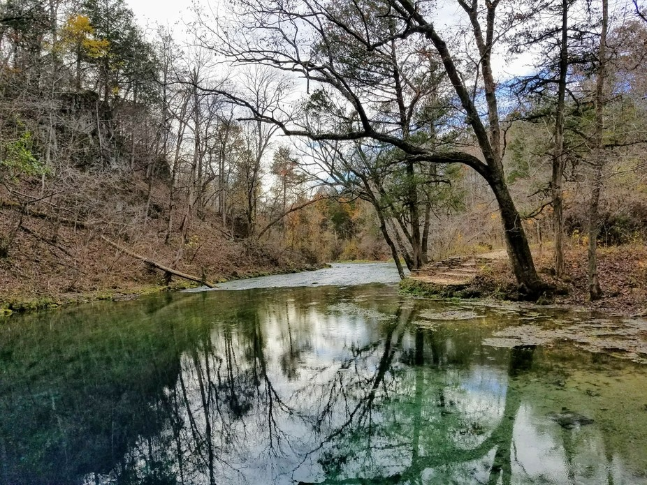 This waterway carries the water from Blue Spring in the Mark Twain National Forest to Current Riv...