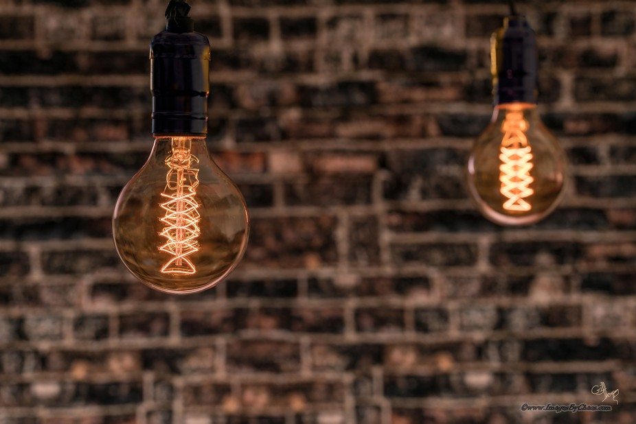 Edison Globes on a Vintage Brick Wall-8241-HDR