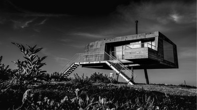Modern Brutalist Home Front View