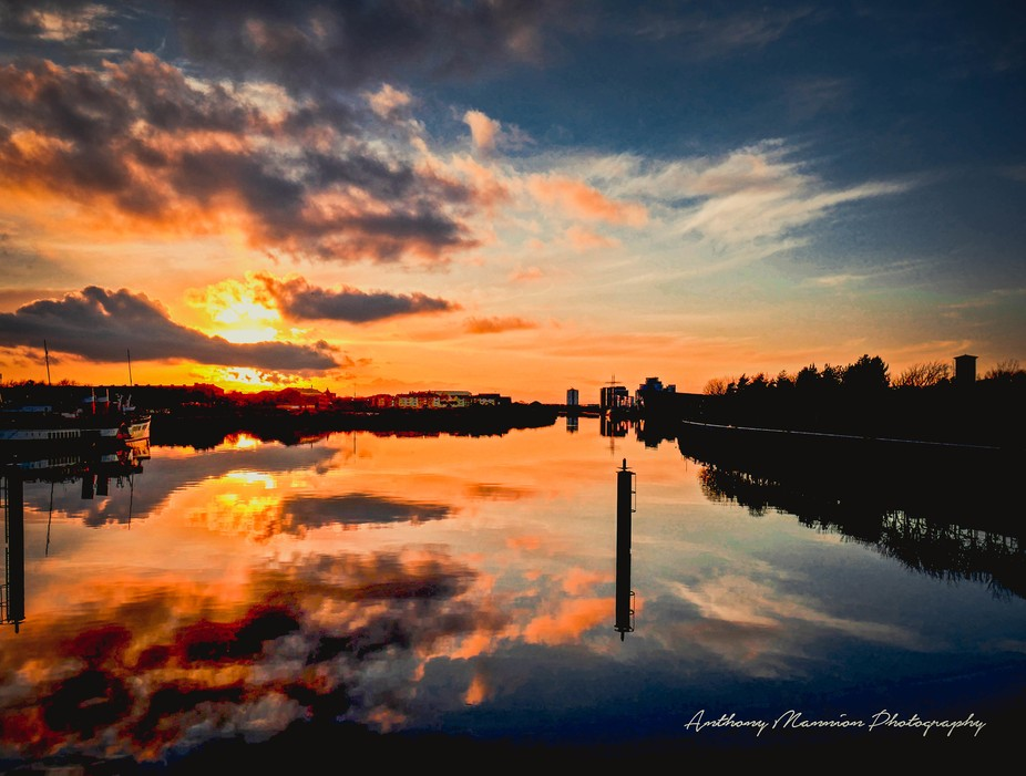 Sunset in the west from Glasgow's Pacific Quay a regular favourite for photographers ama...
