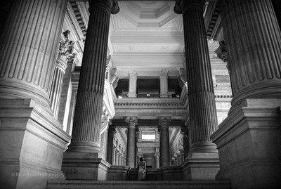 Under the scaffolding of the Palace of Justice - Brussels