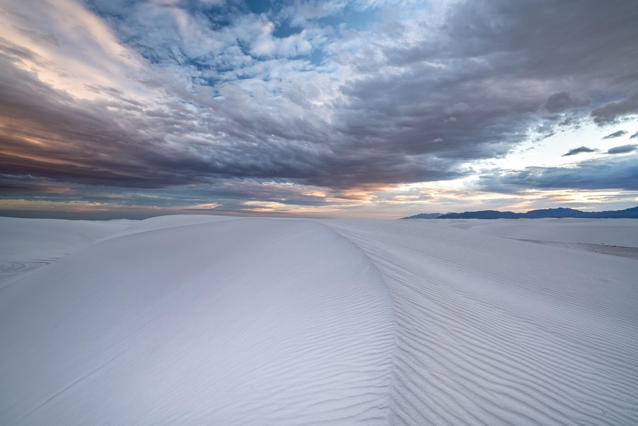White Sands National Monument, dunes at sunset.