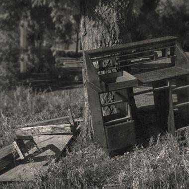 Abandoned, dilapidated writing desk