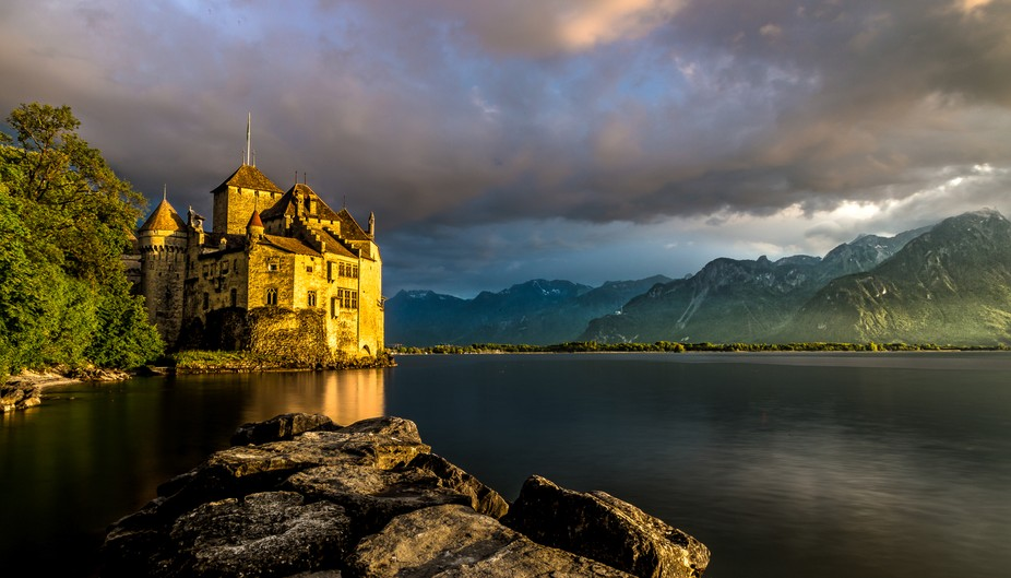 The Château de Chillon - an island castle on the shore of Lake Geneva, Switzerland.