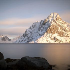 a long exposue at sunrise in this fantastic area of our world:  the lofoten islands in Northern Norway