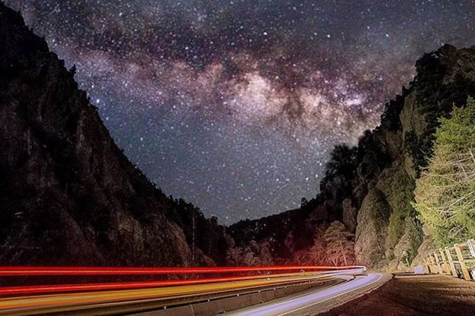 Without the random car and the long exposure of the camera you feel pretty desolate. You can barely see your hand in front of your face and all you can hear is the river echoing off the canyon walls. What you start to feel after awhile though is a deep ap by Mattsnowphotography - Capture The Milky Way Photo Contest