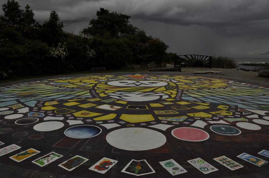 A storm brewing over the Salish Sea at the Roberts Creek Mandala. People come together every summ...