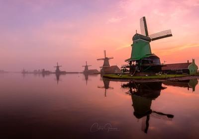 A misty sunrise by the Zaanse Schans
