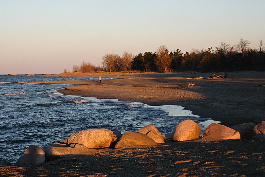 A sunset walk on the beach