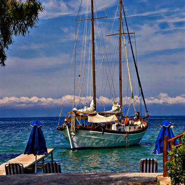 A beautiful boat at Kerveli Bay , Samos, Greece.