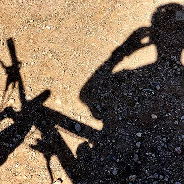 Shadow art along the mountain biking trails!