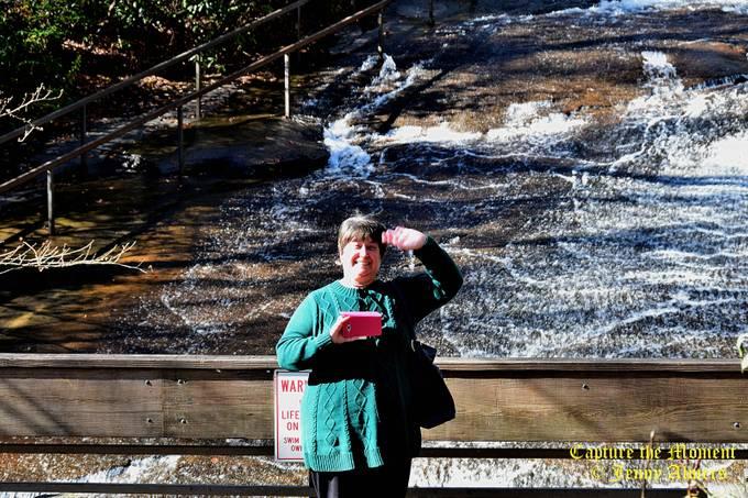 Sister at Sliding Rock Falls