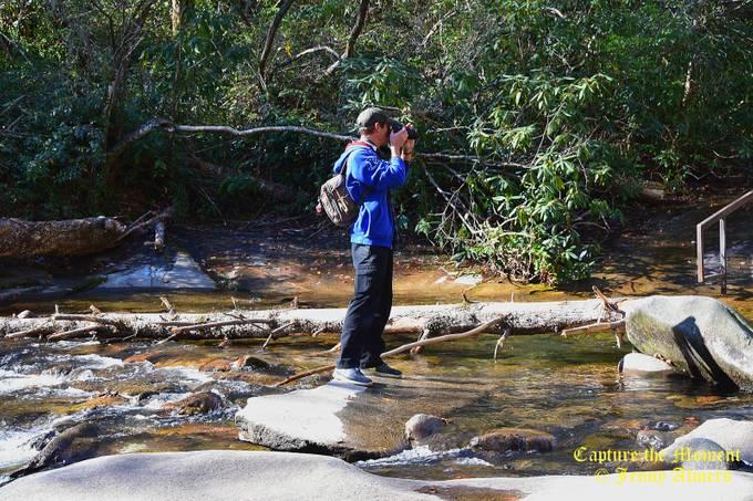 Son at Sliding Rock Falls